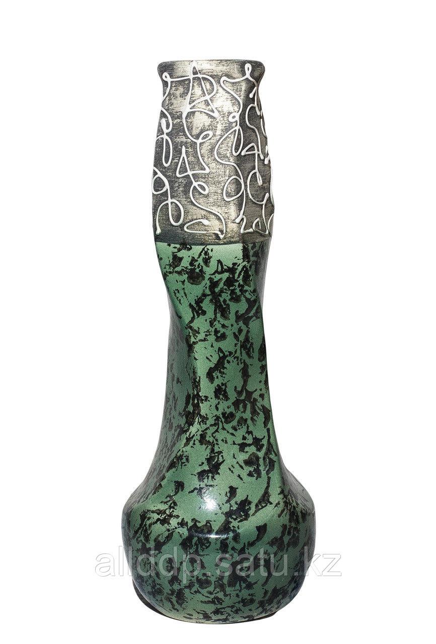 Настольная ваза для цветов (серо-зеленая), 40 см