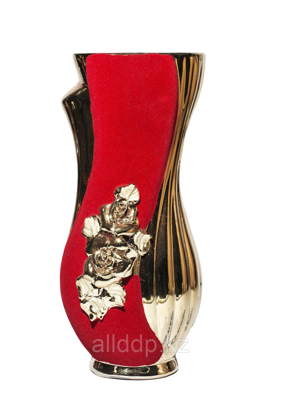"""Настольная ваза для цветов, в форме """"силуэта"""" (красная замша), 30 см"""