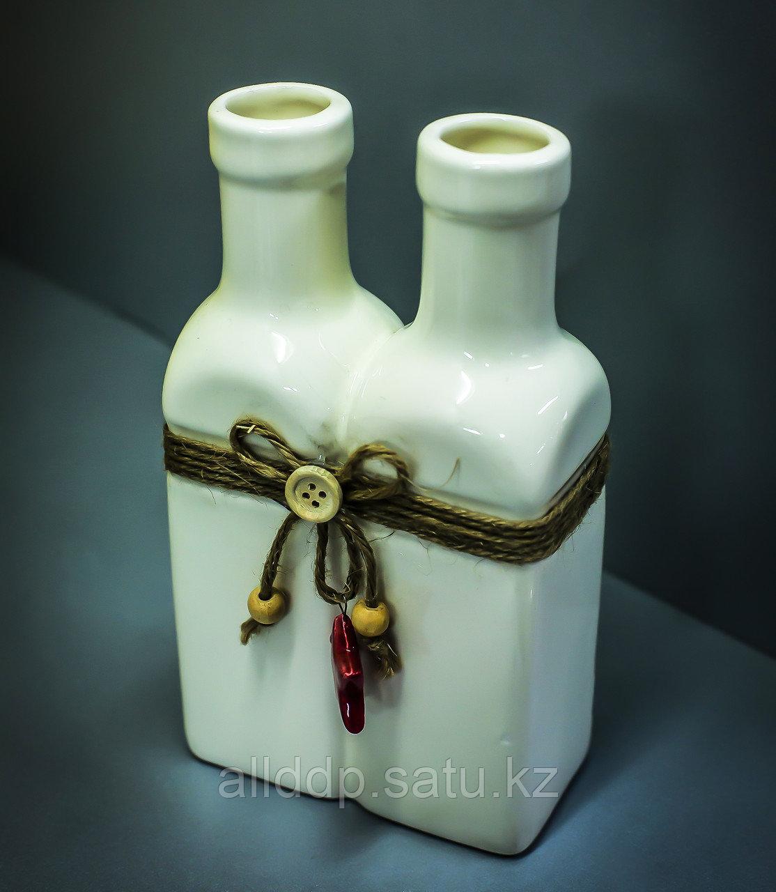 """Бутылка декоративная """"2 в 1"""" (керамика, белая),11х5,5х19,5см"""
