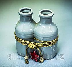 """Бутылка декоративная """"2 в 1"""" (керамика, серая),10х5,5х10см"""