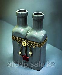 """Бутылка декоративная """"2 в 1"""" (керамика, серая),11х5,5х19,5см"""