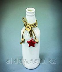 Бутылка декоративная (керамика, белая),5х19см