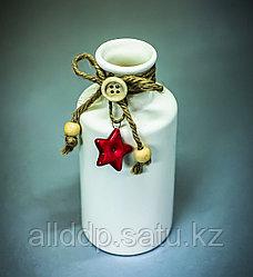 Бутылка декоративная (керамика, белая),6,5х14см