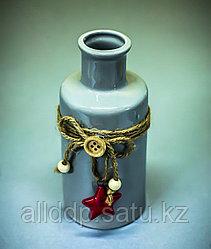 Бутылка декоративная (керамика, серая),6,5х14см