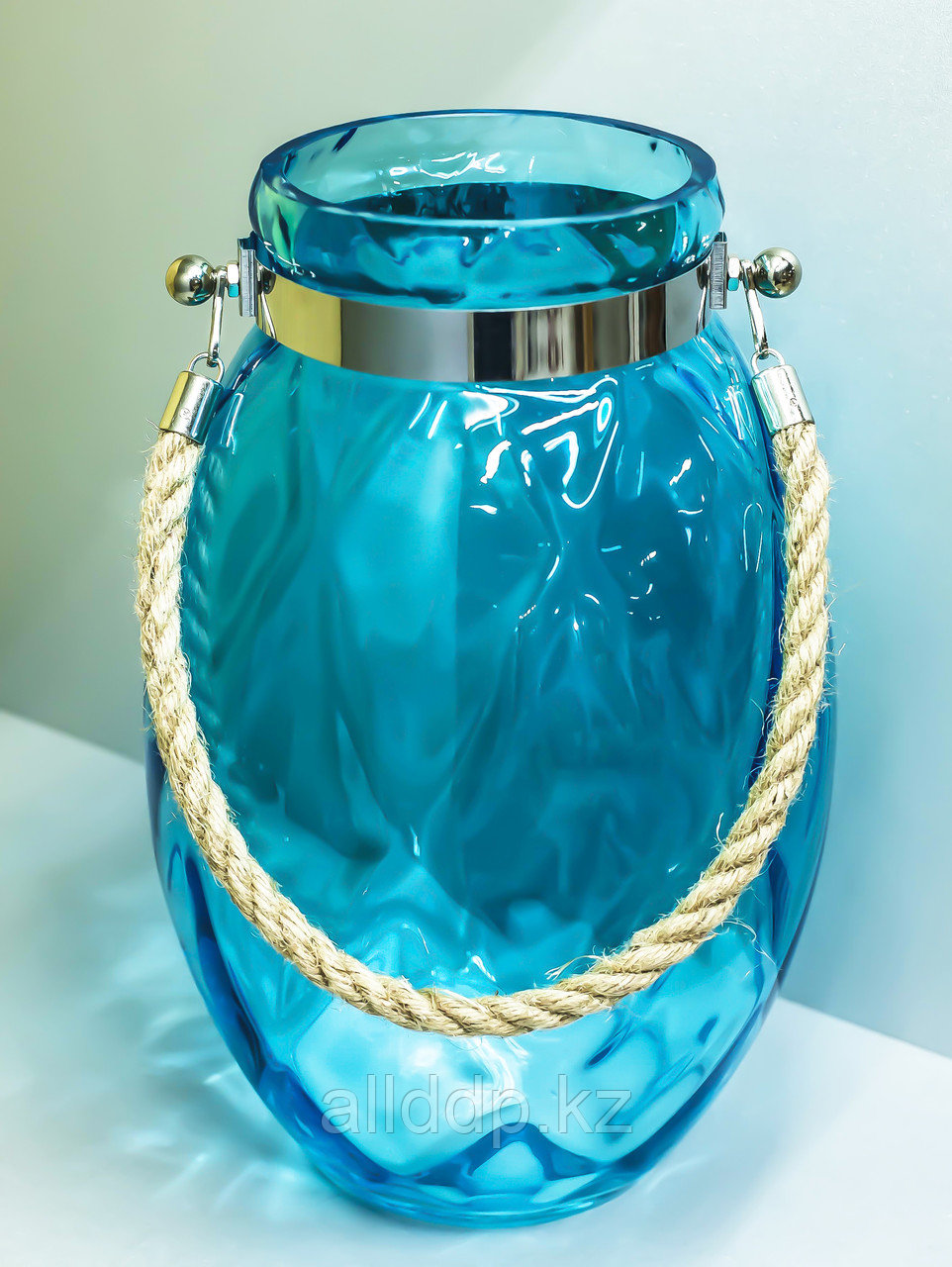 """Декоративная банка -сувенир """"Овал"""", подвесная (голубое стекло),33см"""