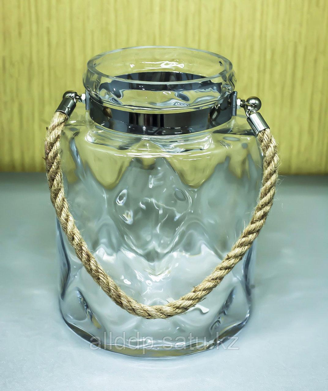 Декоративная банка -сувенир, подвесная (прозрачное стекло),25см