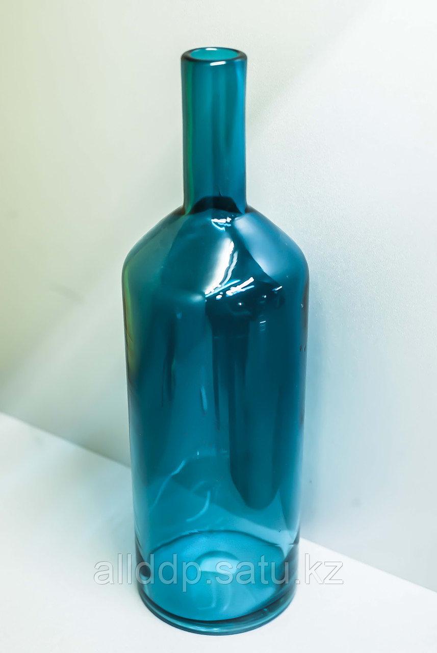 Декоративная бутылка-сувенир (голубое стекло),43см
