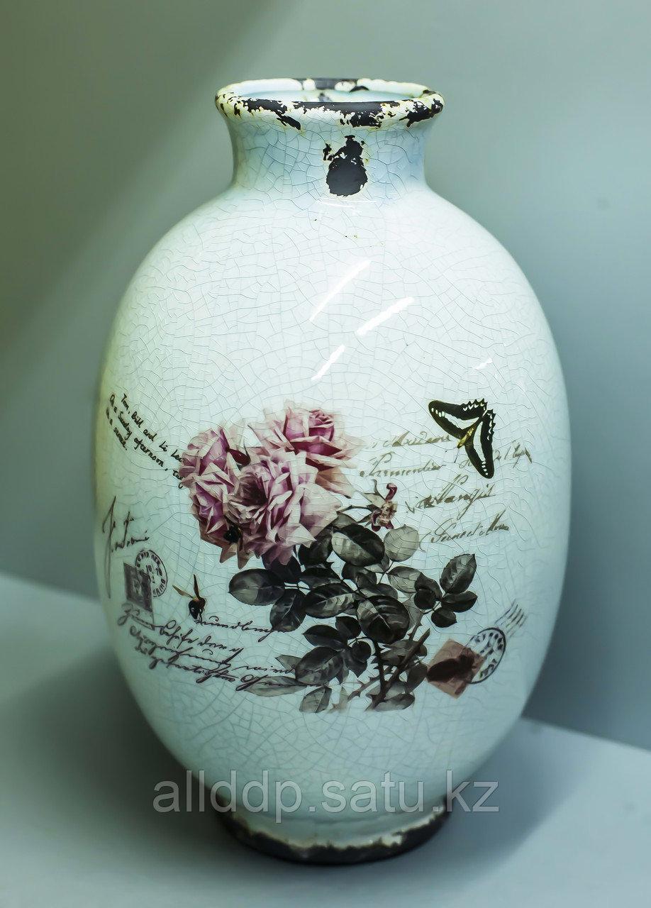 """Декоративная настольная ваза """"Бочка. Розы"""" (керамика,белая),29см"""
