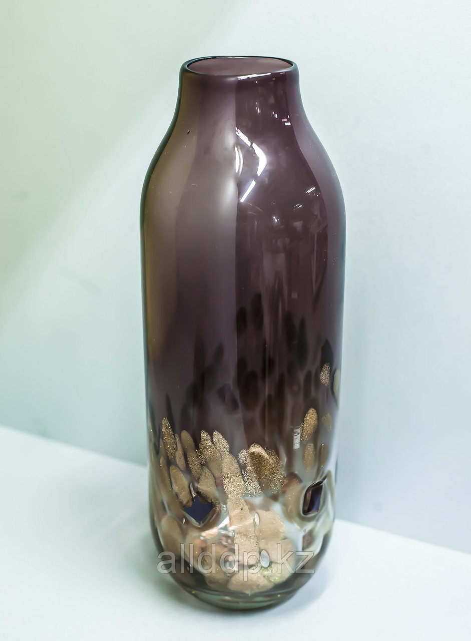 """Декоративная настольная ваза """"Бутылка"""" (матовое фиолетовое стекло),33см"""