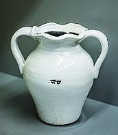"""Декоративная настольная ваза """"Кувшин с ручками"""" (керамика,белая),21см"""