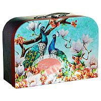 """Коробка -чемодан """"Павлины"""" 32х12см, картон/мталл"""