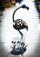 """Декоративная садовая фигурка """"Фламинго в цветах"""" (черная), 57см"""