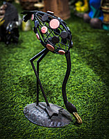 """Декоративная садовая фигурка """"Фламинго с опущенной головой"""" (черная), 40см"""