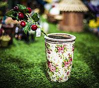 """Декоративное кашпо для цветов """"Горшок с вишневой веточкой"""",21см"""