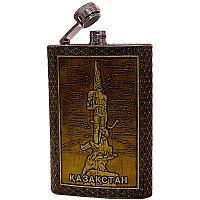 """Фляжка """"Казахстан"""", 15*9,5см, металл/береста"""