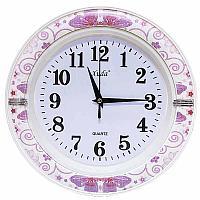 """Часы настенные """"Бабочки в цветах"""", 26*26см, пластик"""