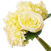 Цветы искусственные, букет 7 веток пионов, пластик h-30см.