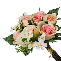 Цветы искусственные, букет 7 роз, пластик h-25см