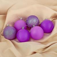 """Набор ёлочных шаров """"Неон"""" d-6 см, 6 шт, цвет фиолетовый, пластик"""