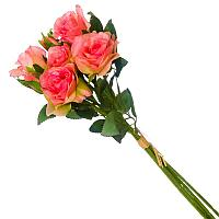 Цветы искусственные, букет 6 мелких роз, пластик h-35см.