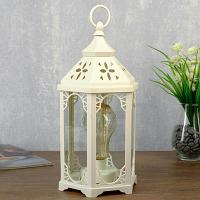Декоративный фонарь, цвет белый, 14х16,5х31см, пластик