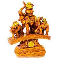 "Сувенир ""Три денежных слона на купюре с монетами"" под дерево 24,5х19,5х7,8 см , полистоун"