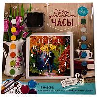 """Роспись-часы по номерам """"Влюбленные"""" с красками 14 шт по 3мл+ кисти 30*30 см, картон/пластик"""