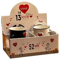 """Набор кружек """"Любовные"""", с крышкой и ложками, 400мл, керамика"""