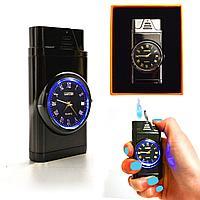 Подарочная зажигалка газовая с часами с подсветкой сувенирная Lighter черная