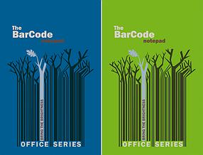 """Блокнот  50л  """"Штрих-код: деревья, синий/зеленый"""""""