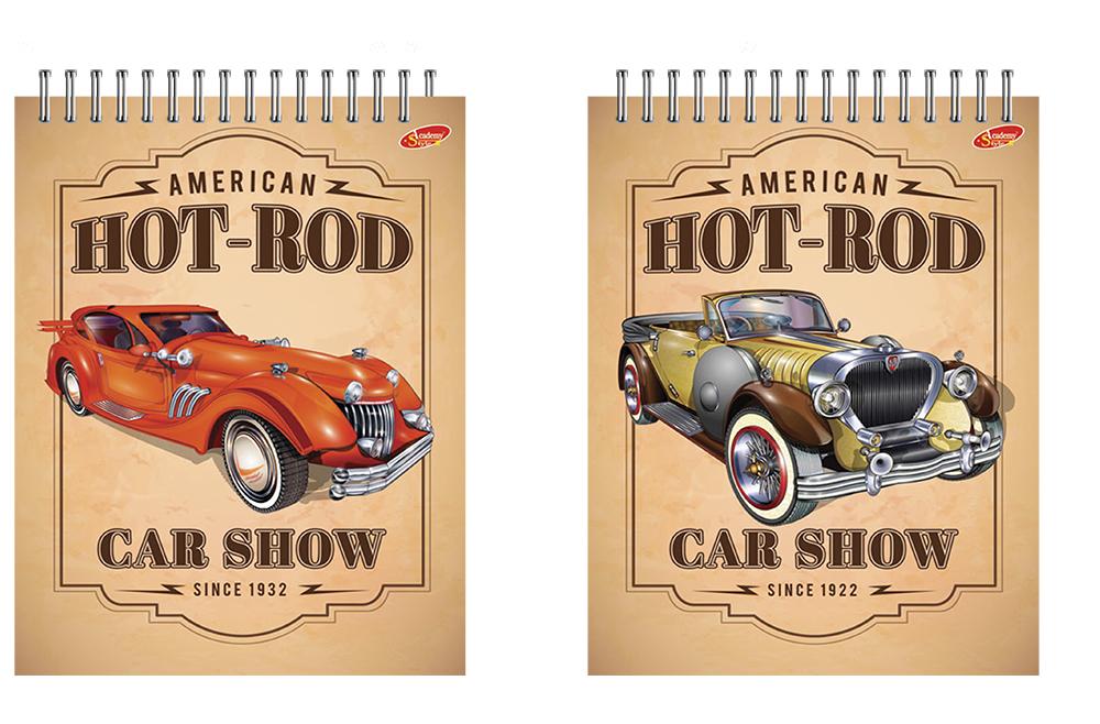 """Блокнот 40 листов Hot-Rod (ретро-авто)"""""""