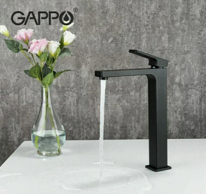 Смеситель для умывальника GAPPO 1017-62 высокий черный
