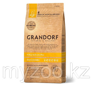 Grandorf 4мяса&рис Mini (индейка, ягненок, утка, кролик), 3 кг
