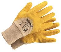 Перчатки YELLOW GRIP трикотажные хб с латексным ребристым покрытием ULT600 (кор144 пары/ уп 12 пар)