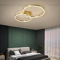 Современная LED люстра 2 Кольца в золотом цвете