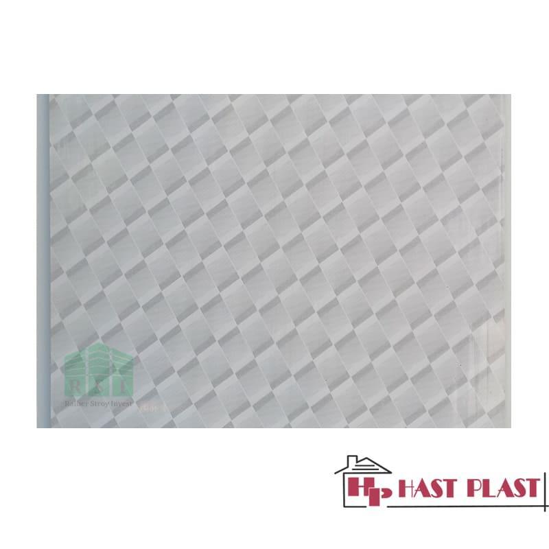 """Стеновая ПВХ панель """"Hast Plast"""" 4 метра (серый ромб глянцевый)"""