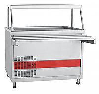 Прилавок холодильный ПВВ(Н)-70КМ-02-НШ вся нерж. с ванной, нейтральный шкаф (1120мм)