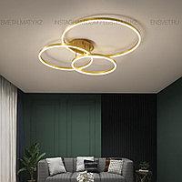 Современная LED люстра 3 Кольца в золотом цвете