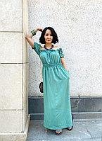 Длинное летнее платье со спущенными плечами