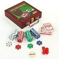 Набор для игры в покер в деревянном кейсе «Poker Game Set» (100 фишек)