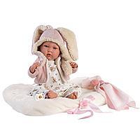 LLORENS: Пупс Малышка 42см в ушастой курточке, с одеялком