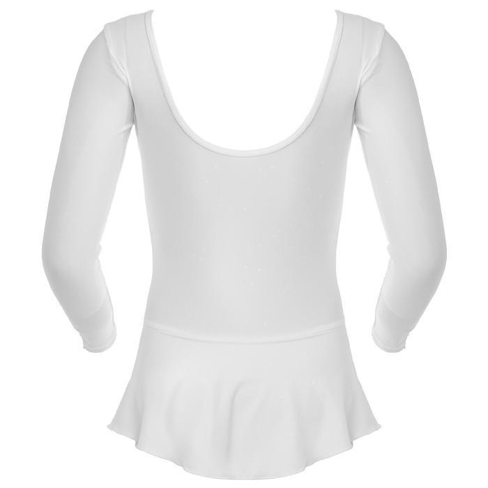 Купальник гимнастический с юбкой, с длинным рукавом, размер 28, цвет белый - фото 4