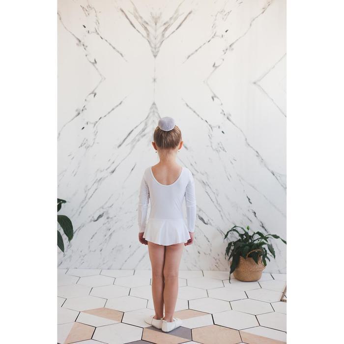 Купальник гимнастический с юбкой, с длинным рукавом, размер 28, цвет белый - фото 6