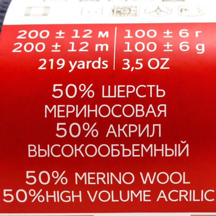 """Пряжа """"Мериносовая"""" 50%меринос.шерсть, 50% акрил 200м/100гр (393-Св.моренго) - фото 2"""