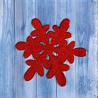 """Наклейка на стекло """"Снежинка красная"""" блеск 15х15,5 см"""