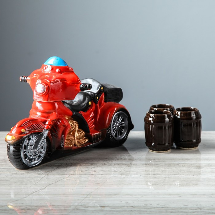 """Набор для вина """"Мотоцикл"""", 4 предмета в наборе, 0,95 л / 0,1 л, микс"""