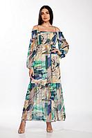 Женское летнее льняное платье LaKona 1380 бежево-голубой 44р.