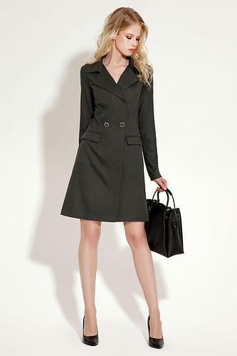 Женское осеннее серое деловое платье Панда 11380z темно-серый 40р.