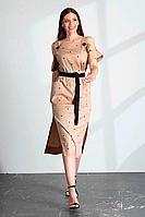 Женское летнее хлопковое бежевое платье Vladini DR1147 бежевый 42р.