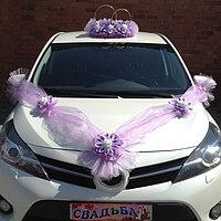 Набор для украшения автомобиля: кольца с цветами ручной работы, 4 бантика на ручки, 2 ленты на капот, бант на